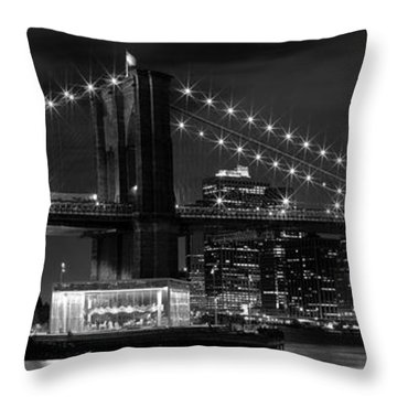 Night-skyline New York City Bw Throw Pillow