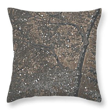 Throw Pillow featuring the photograph Night Snow Series Bianco by Roxy Riou