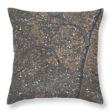 Night Snow Series Bianco Throw Pillow by Roxy Riou