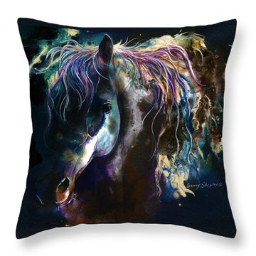 Throw Pillow featuring the painting Night Stallion by Sherry Shipley