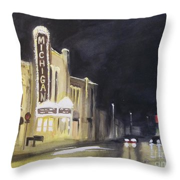 Night Time At Michigan Theater - Ann Arbor Mi Throw Pillow by Yoshiko Mishina