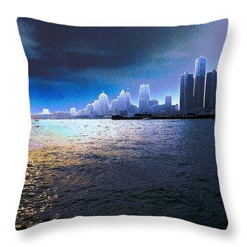 Night Time On The Detroit River Throw Pillow