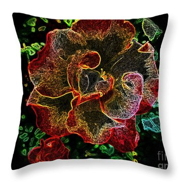 Night Time Rose Throw Pillow