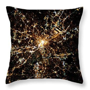 Night Time Satellite Image Of Atlanta Throw Pillow