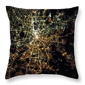 Night Time Satellite Image Of Berlin Throw Pillow