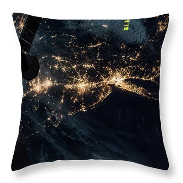 Night Time Satellite Image Of New York Throw Pillow