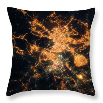 Night Time Satellite View Of Hangzhou Throw Pillow