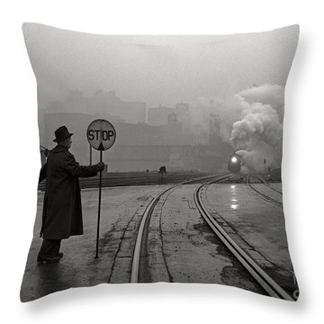Night Train Thru Fog Throw Pillow