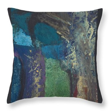 Throw Pillow featuring the mixed media Night Trees by Catherine Redmayne