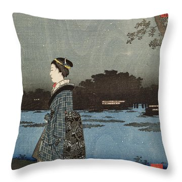Night View Of Sanya Canal And Matsuchi Hill Throw Pillow