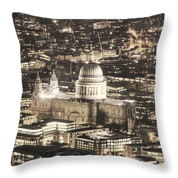 Night View Over St Pauls Throw Pillow