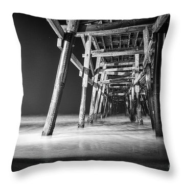 Night View Under San Clemente Pier Throw Pillow