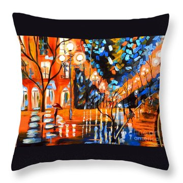 Night Village Rain Throw Pillow
