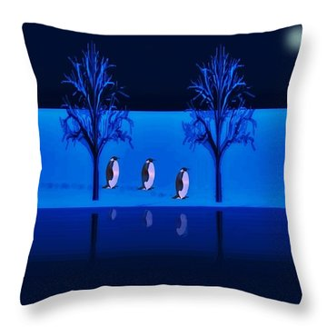 Night Walk Of The Penguins Throw Pillow