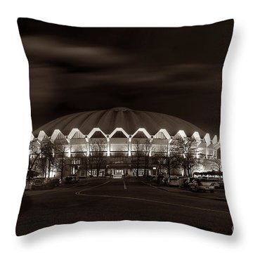 night WVU Coliseum basketball arena Throw Pillow by Dan Friend