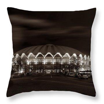 night WVU Coliseum basketball arena Throw Pillow