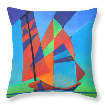 Throw Pillow featuring the painting Nightboat by Tracey Harrington-Simpson