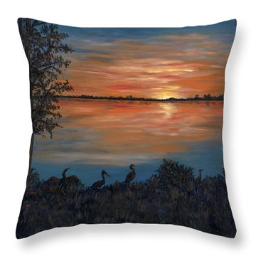 Throw Pillow featuring the painting Nightfall At Loxahatchee by Karen Zuk Rosenblatt