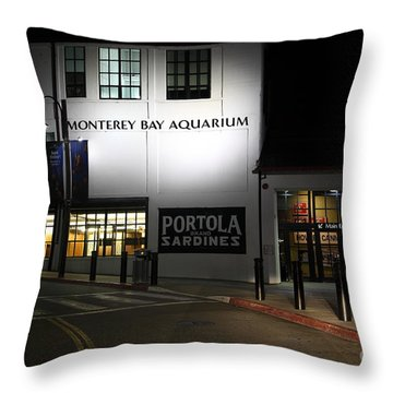 Nightfall At The Monterey Bay Aquarium On Monterey Cannery Row California 5d25177 Throw Pillow