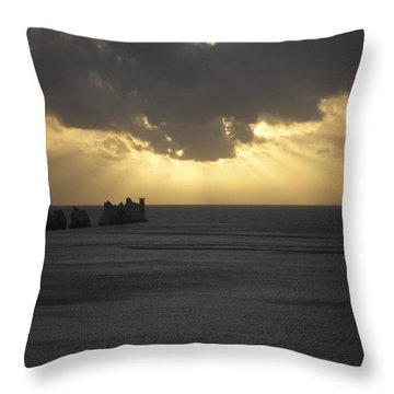 Nightfall At The Needles Point In The Isle Of Wight Throw Pillow