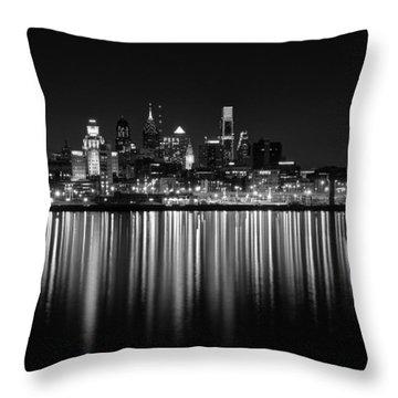 Nightfall In Philly B/w Throw Pillow by Jennifer Ancker