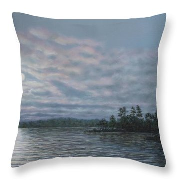 Throw Pillow featuring the painting Nightfall - Moonrise On The Waterfront by Kathleen McDermott