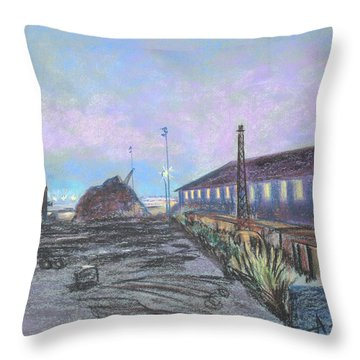 Nightfall On The Metal Mountain At Schnitzer Steel Throw Pillow by Asha Carolyn Young