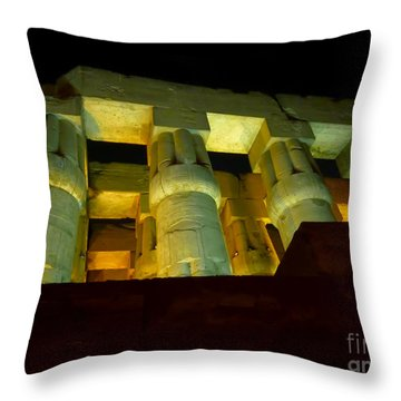 Nightime At Luxor Temple  Throw Pillow