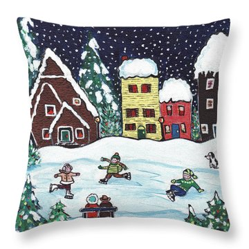 Nightime Skaters Throw Pillow