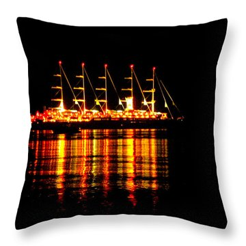 Nightlife On The Water Throw Pillow by Zafer Gurel
