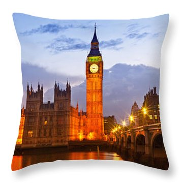 Nightly View - Houses Of Parliament Throw Pillow by Melanie Viola