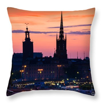 Nightsky Over Stockholm Throw Pillow by Inge Johnsson
