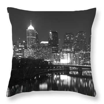Throw Pillow featuring the photograph Nighttime In Philadelphia by Alice Gipson
