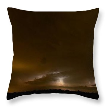 Nighttime Panoramic Throw Pillow