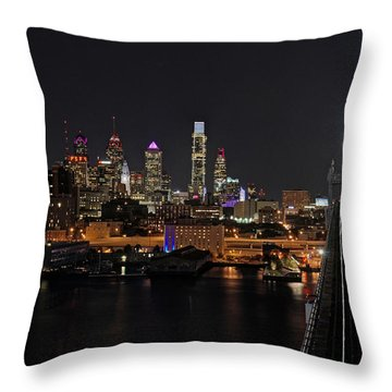 Nighttime Philly From The Ben Franklin Throw Pillow by Jennifer Ancker