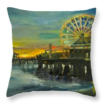 Nighttime Pier Throw Pillow by Lindsay Frost