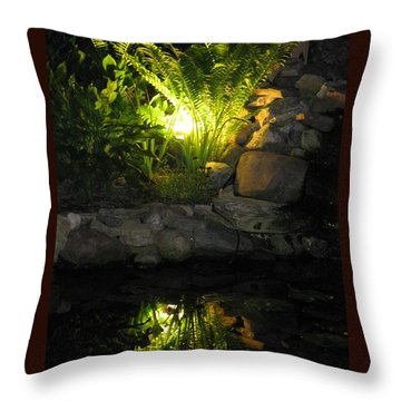 Nighttime Reflection Throw Pillow by Debbie Finley