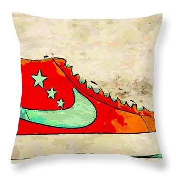 Nike Blazer Orange Throw Pillow by Alfie Borg