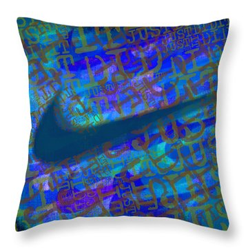 Nike Just Did It Blue Throw Pillow