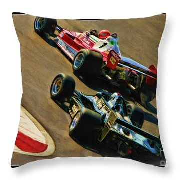 Niki Lauda Leads Mario Andretti Throw Pillow