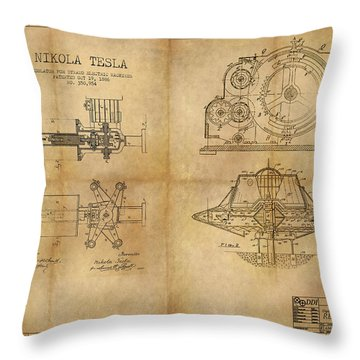 Nikola Telsa's Work Throw Pillow