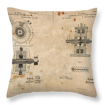 Nikola Tesla's Alternating Current Generator Patent 1891 Throw Pillow