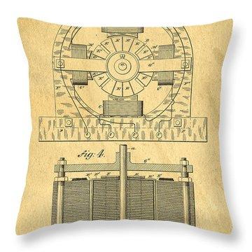 Nikola Tesla Coil Patent Art Throw Pillow