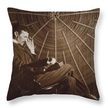 Nikola Tesla Throw Pillow by Granger