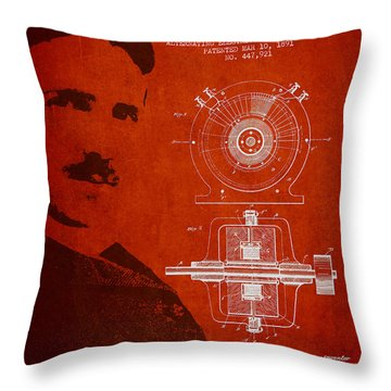 Nikola Tesla Patent From 1891 Throw Pillow by Aged Pixel