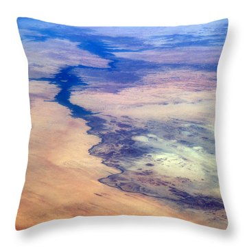 Throw Pillow featuring the photograph Nile River From The Iss by Science Source