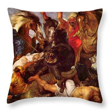 Nilpferdjagd Throw Pillow by Peter Paul Rubens