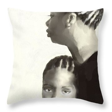 Throw Pillow featuring the drawing Nina And Lisa Simone by Vannetta Ferguson