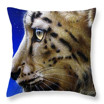 Nina The Snow Leopard Throw Pillow by Jurek Zamoyski