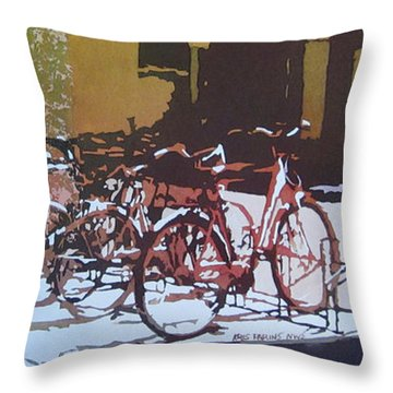 Nine Bicycles Throw Pillow by Kris Parins